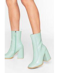 Nasty Gal Curve 'em Heeled Sock Boots - Green