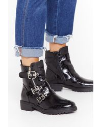 "Nasty Gal ""faux Croc Triple Buckle Biker Boot"" - Black"