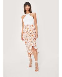 Nasty Gal Abstract Asymmetric Ruched Midi Skirt - Multicolour