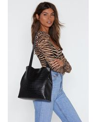 Nasty Gal Faux Leather Croc Tote And Clutch Bag Set - Black
