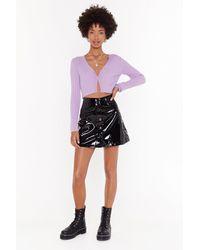 "Nasty Gal ""vinyl-ly Got It Right Button-down Mini Skirt"" - Black"