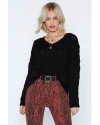 Nasty Gal - Warm Nights Cable Knit Sweater - Lyst