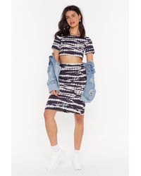 "Nasty Gal ""always Good Vibes Tie Dye Midi Skirt"" - Black"