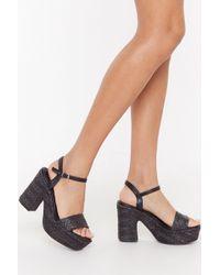 "Nasty Gal ""notch Quite Yours Woven Platform Heels"" - Black"