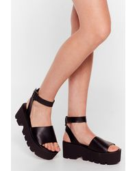 Nasty Gal Mule Thank Us Later Faux Leather Chunky Sandals - Black