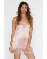 Nasty Gal - Lace Time Lover Satin Nightie - Lyst