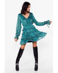 Nasty Gal We've Came This Star Ruffle Mini Dress - Blue