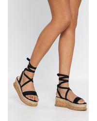 Nasty Gal - Tied My Best Cork Platform Sandals - Lyst