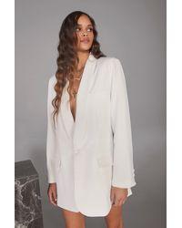 Nasty Gal Blazer Oversize À Épaulettes Et Revers Châle - Blanc