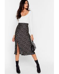 "Nasty Gal ""damn You're Polka Dot Satin Midi Skirt"" - Black"