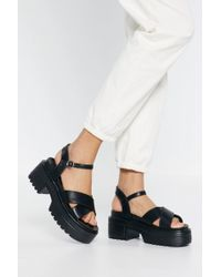 """Nasty Gal """"watch Your Step Faux Leather Platform Sandals"""" - Black"""