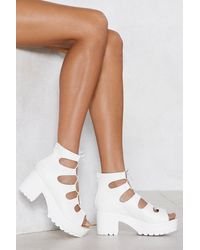 """Nasty Gal """"white Heel Sandal With Cleated Platform Sole"""""""
