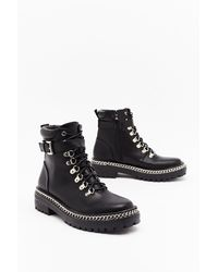 "Nasty Gal ""don't Chain On My Parade Faux Leather Boots"" - Black"