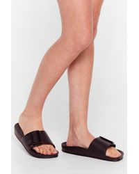Nasty Gal Fasten Your Seat Belt Faux Leather Sliders - Black