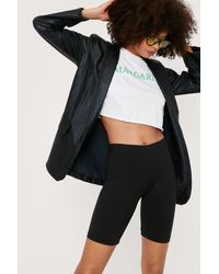 Nasty Gal Jersey High Waisted Longline Biker Shorts - Black