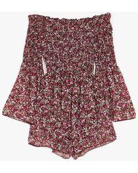 Nasty Gal Shrug 'em Off Shirred Floral Playsuit - Brown