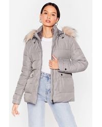 Nasty Gal Faux Fur Hooded Puffer Jacket - Gray