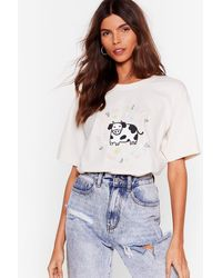 Nasty Gal Cows From The Yard Graphic Tee - Natural
