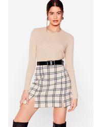 Nasty Gal Check In On 'em Slit Mini Skirt - Natural