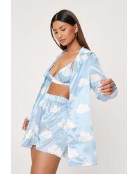 Nasty Gal Cloud Satin 3pc Pyjama Short Set - Blue