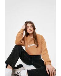 Nasty Gal Relaxxx Washed Oversized Graphic Sweatshirt - Brown