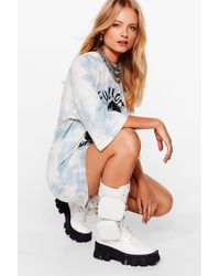 Nasty Gal Pocket Me Not Faux Leather Cleated Boots - White