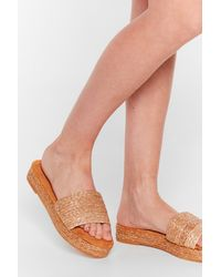 Nasty Gal Straw The Line Woven Platform Sandals - Natural