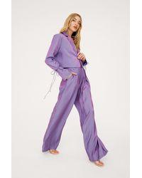 Nasty Gal Metallic Satin Pleated Wide Leg Pants - Purple