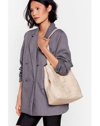 "Nasty Gal ""want A Woven Success Clutch And Tote Bag"" - Natural"