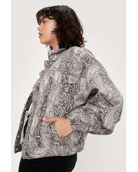 Nasty Gal Snake Print Oversized Denim Jacket - Natural