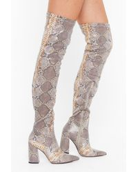 "Nasty Gal ""pu Stretch Snake Otk Flare Heel Boots"" - Natural"