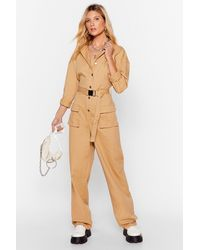 Nasty Gal Pull Yourself Together Denim Belted Boilersuit - Natural