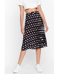Nasty Gal We've Dot Your Back Satin Midi Skirt - Black