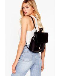 Nasty Gal Want Take A Roadtrip Faux Leather Backpack - Black