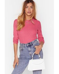 """Nasty Gal """"i'll Be Fine Patterned Knit Sweater"""" - Pink"""