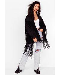 Nasty Gal In It To Fringe It Oversized Denim Jacket - Black