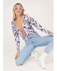 Nasty Gal Zebra Pattern Lace Up Front Knitted Cardigan - Violet