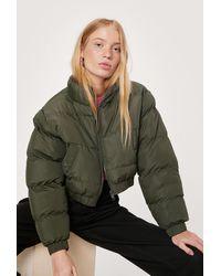 Nasty Gal Petite Cropped Padded Jacket - Green