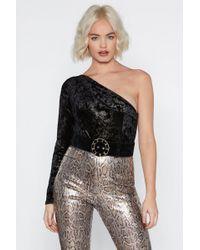 """Nasty Gal - """"get Out Plush Velvet Bodysuit"""" - Lyst"""