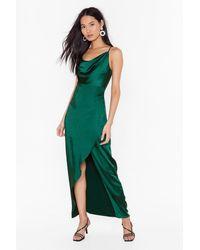 Nasty Gal Cowl Midi Dress - Green