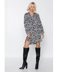 Nasty Gal - On Your Shirt Behavior Zebra Dress - Lyst