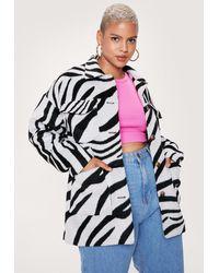 Nasty Gal Plus Size Zebra Print Shacket - White