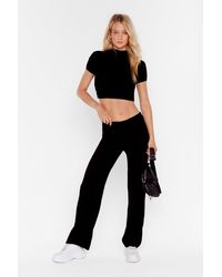 Nasty Gal This Is Knit Crop Top And Wide Leg Pants Set - Black