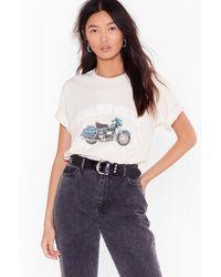 Nasty Gal T-Shirt Ample À Impression Moto Et Slogan American Vintage Motorcycles - Neutre