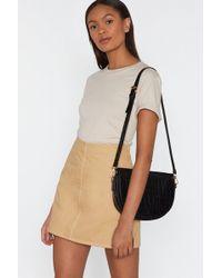 "Nasty Gal ""faux Croc Half Moon Crossbody Bag"" - Black"