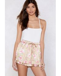 Nasty Gal - Grow Your Own Way Satin Shorts - Lyst