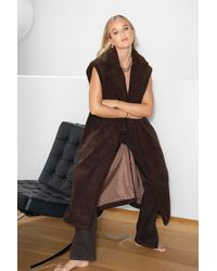 Nasty Gal Are You Teddy Faux Fur It Longline Coat - Brown
