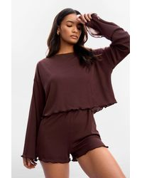 Nasty Gal Ribs Been A Long Day Ruffle Short Lounge Set - Brown
