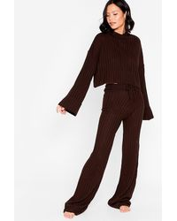 Nasty Gal Take The Easy Option Hoodie And Trousers Lounge Set - Brown