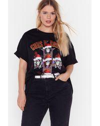 "Nasty Gal ""guns N' Roses Holiday Plus Graphic Band Tee"" - Black"